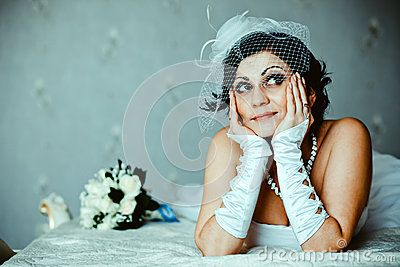 Beautiful bride dreams about future