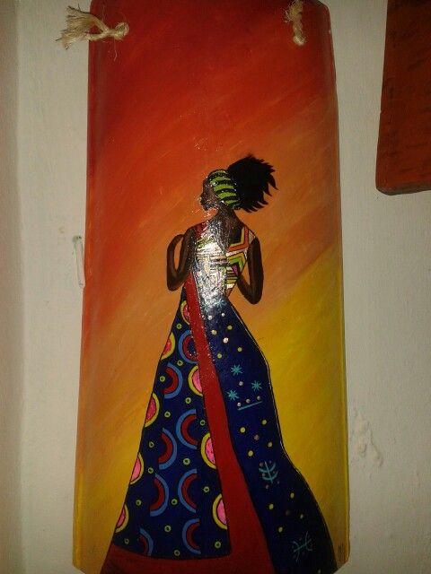 Africana en teja pintura de acr lico pinturas en tejas - Pintura para tejas ...