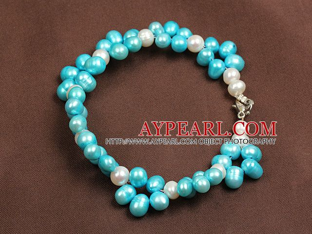 Summer Beach Jewelry 6-7Mm Natural White And Blue Pearl Bracelet