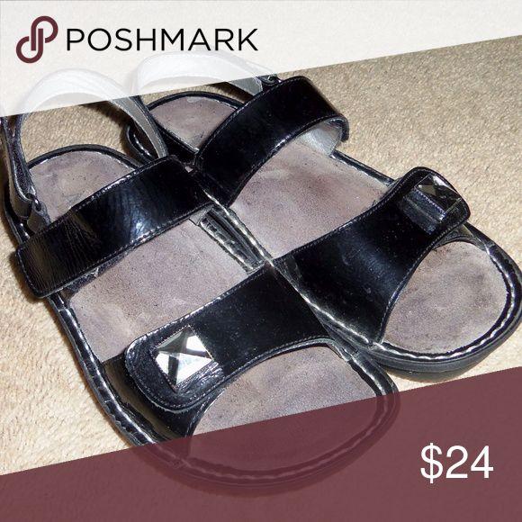 Alegria sandals EUR 38 EUC! Double  top straps  with large clear square gem embellishments. Very nice! Alegria Shoes Sandals