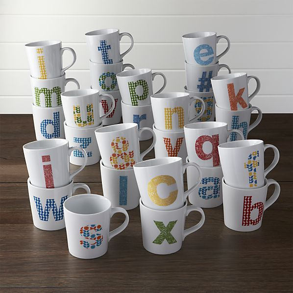 The ABCs of personalized refreshment. Our whimsical collection of Alphabet mugs displays every individual letter in brightly colored, bold pop-art graphics on clean-lined white porcelain backgrounds. The emblem appears on both sides of this fun hot beverage mug, which makes a great gift for everyone in your life.