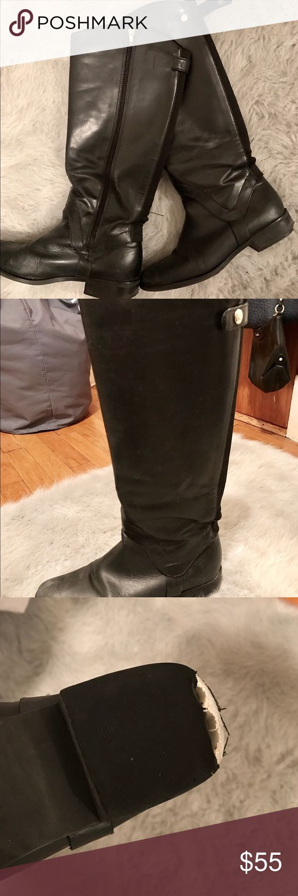 Tall black boots Under the knee boots. Wide fit around the leg. Some signs of wear on the edge of the heel but still in good condition. Steven by Steve Madden Shoes Combat & Moto Boots