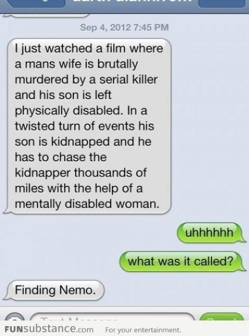Every time I read this I laugh so hard.  Have you ever thought of describing other kids movies this same way?: Findingnemo, Thought, Funny Stuff, Movie, Disney, Finding Nemo, Funnie