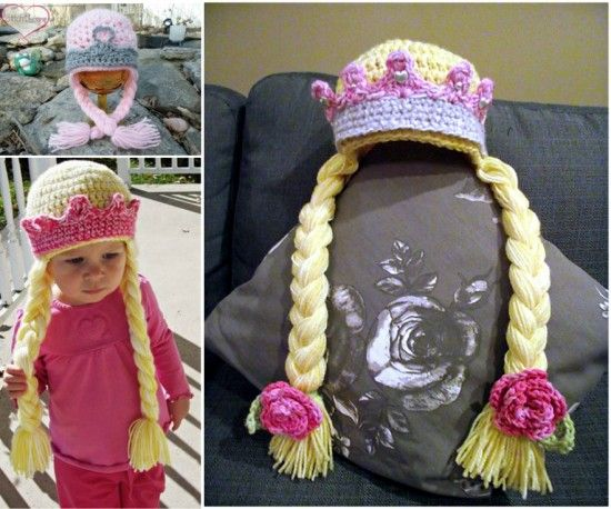 Free Pattern Princess Braid Crochet Hats