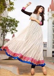 Casual Wear  Net White Embroidered Work Anarkali Suit