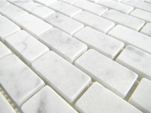 Italian White Cararra Marble Tumbled 19 X 38 X 6mm Brick