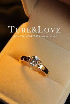 Simple Gold Plated Zircon Crystal Big Carat Diamond Ring
