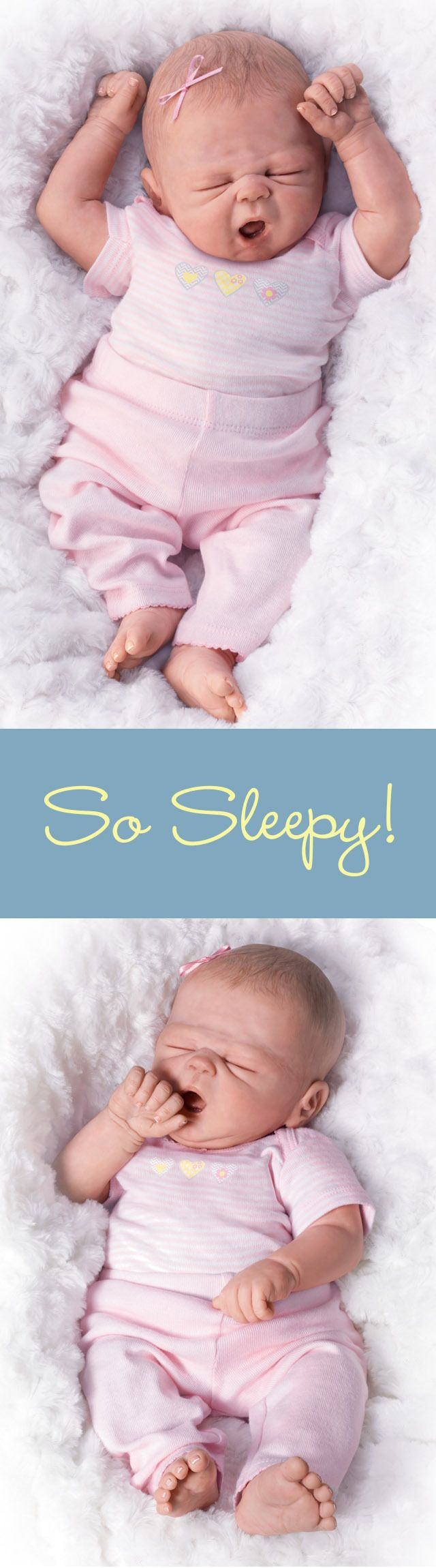 Cuddle this lifelike So Truly Real baby doll close - So Sleepy Sophie is ready for bed!
