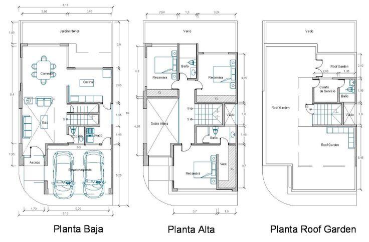 planos de casas con sala a doble altura - Buscar con Google