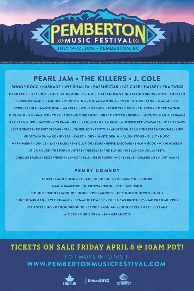 Pearl Jam and The Killers! Pemberton Music Festival 2016 is here!  #canada Pemberton Music Fest
