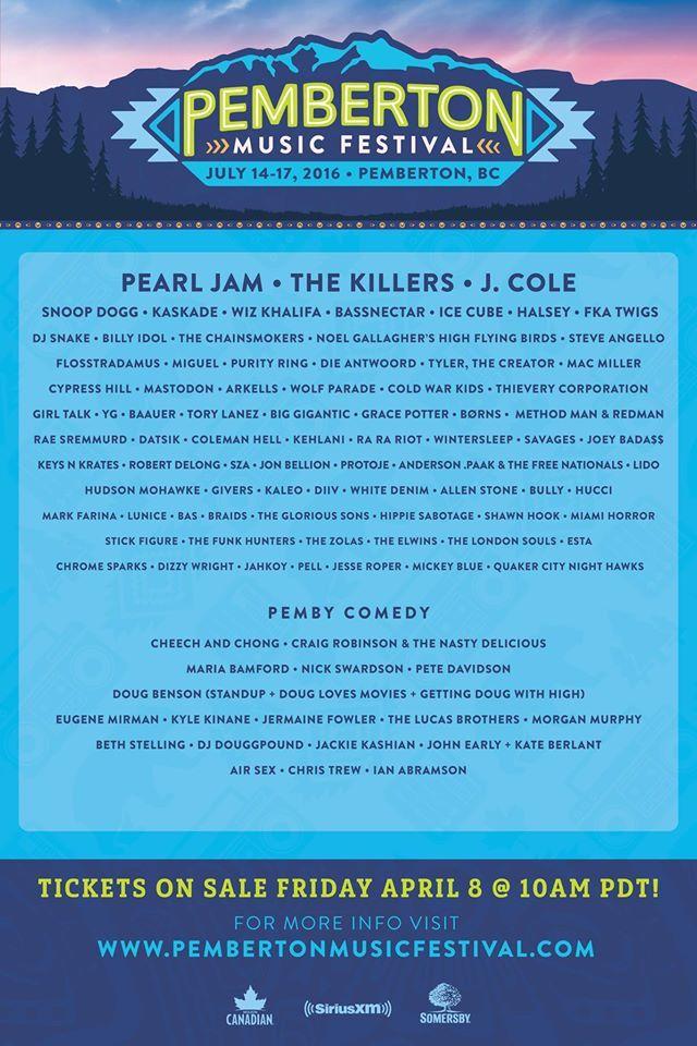 Pearl Jam and The Killers! Pemberton Music Festival 2016 is here!  #canada Pemberton Music Fest