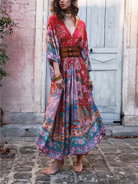 4953adf56ade0 2019 的 Women Spring Bohemian Floral Print Maxi Dress Holiday ...