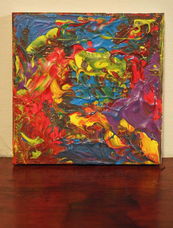 Chaotic Valley Abstract Expressionism Acrylic Painting on a Mini Canvas