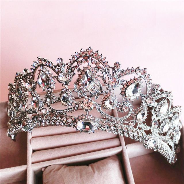 Barroco Rainha da coroa de strass enfeites de cabelo jóias cocar de casamento da noiva do cabelo do casamento de jóias da princesa Europeia