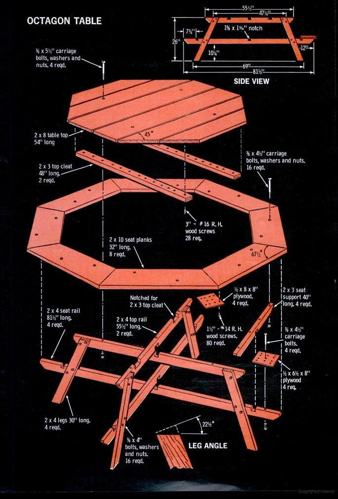 Hexagonal Picnic Table Plan from Popular Mechanics