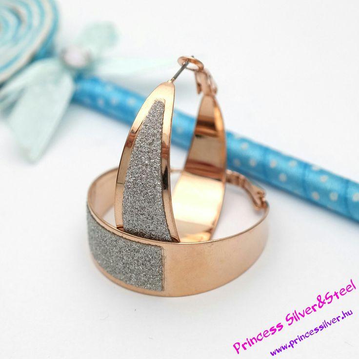 Rose gold nemesacél karika fülbevaló 3,5 cm Részletek: www.princessilver.hu