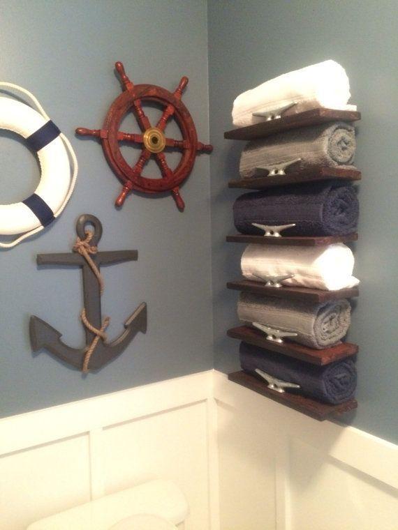 Handmade Pallet Wood Nautical Towel, Sailor Themed Bathroom Accessories