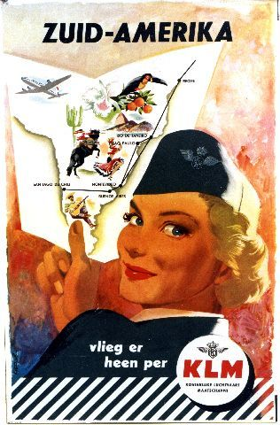 Mettes KLM Zuid-Amerika - South American vintage poster for KLM in Dutch language