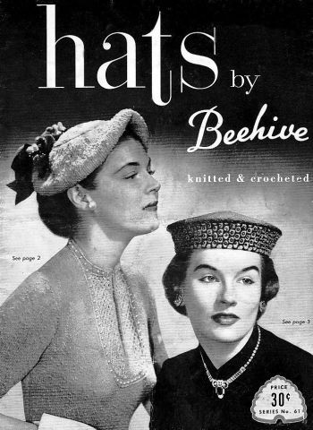 Beehive 61, hats knitted and crocheted, has 18 pages, wonderful. Availabe in PDF form at http://www.buggsbooks.com