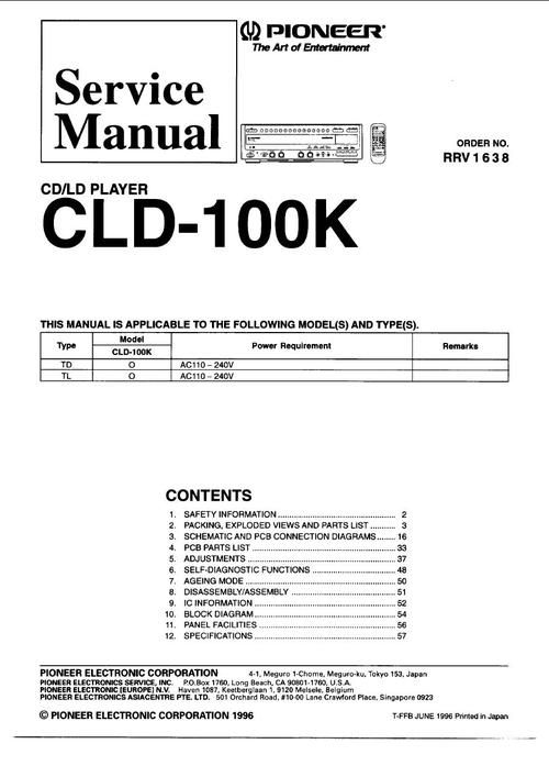 Pioneer CLD-100 Laser Disc , Service Manual  * PDF format suitable for all Windows , Linux DOWNLOAD