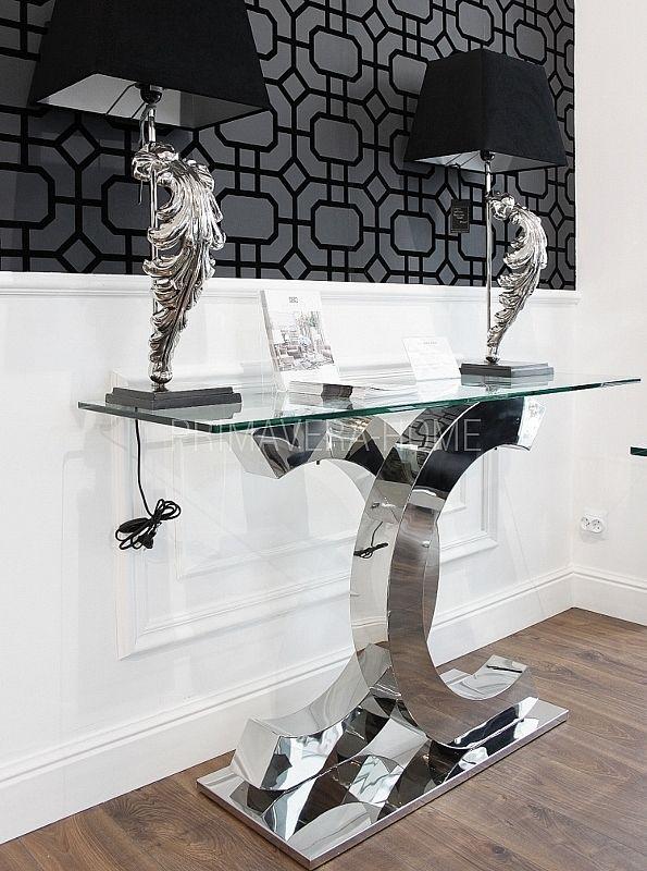 Konsola ława stal nierdzewna szkło srebrny przeźroczysty czarny styl glamour COCO 3