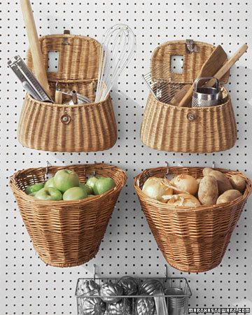 "Hanging baskets for a kitchen wall with cup hooks make a great receptacle for kitchen ""stuff""."