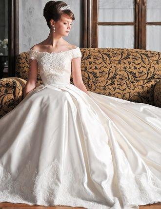 ドレスの写真・フォトギャラリー オフホワイト/オフショルダー/Aライン/トレーンChapel/リバーレース×シルクサテン-ブライダルTSY-