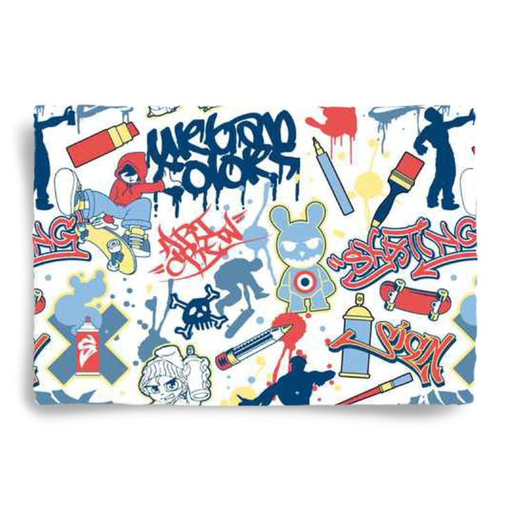 Kids Skateboard Graffiti Pillowcase Sham from Extremely Stoked Skate