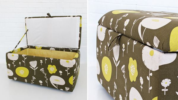 An upholstered trunk- extra seating and extra storage. @Colleen Heath this is what we should do with my fabric!