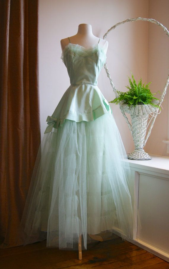 Vintage 1950s Prom Dress  50s Celadon Green Prom by xtabayvintage