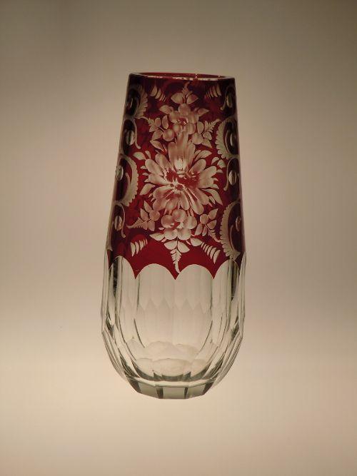 Bohemian Czech Art Deco Ruby Hand Cut to Clear Glass Vase
