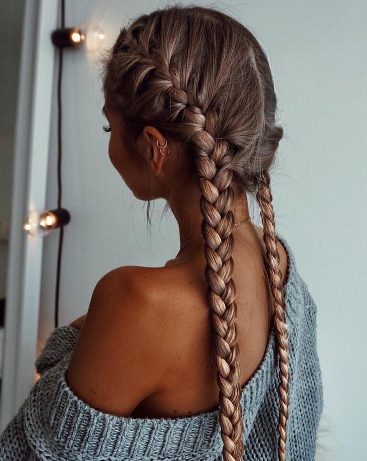 Double Dutch braids, the perfect hairstyle for the gym, or school .