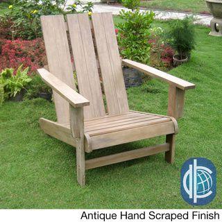 Acacia Hardwood Natural Square Back Adirondack Chair | Overstock.com Shopping - Big Discounts on International Caravan Sofas, Chairs & Sectionals
