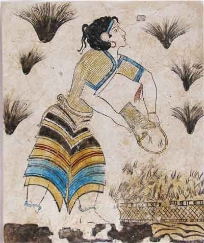 Minoan fresco tile: saffron-gatherer (3)