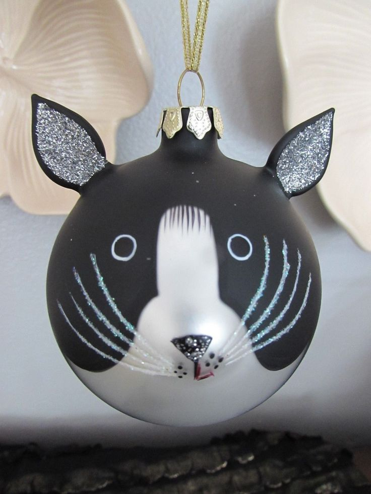 Details About Christmas Round Ball Ornament Black White