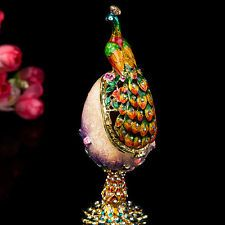 VINTAGE PEACOCK FIGURINE FABERGE RUSSIA EGGS JEWELRY TRINKET BOX HOME DECOR
