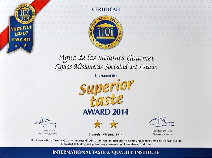 Premio al Sabor Superior 2014, otorgado por el International Taste & Quality Institute – iTQi