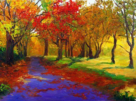 Cuadros al óleo de paisaje otoñal. Colores muy vivos y con alto contraste, muy bueno.