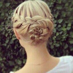French braid flower bun