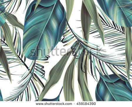 Tropical colorful background with leaves. seamless stylish fashion floral pattern, in Hawaiian style