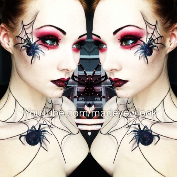spider queen halloween makeup easy 3d appearing spiders drawn on with eyeliner - Where Can I Get Halloween Makeup Done
