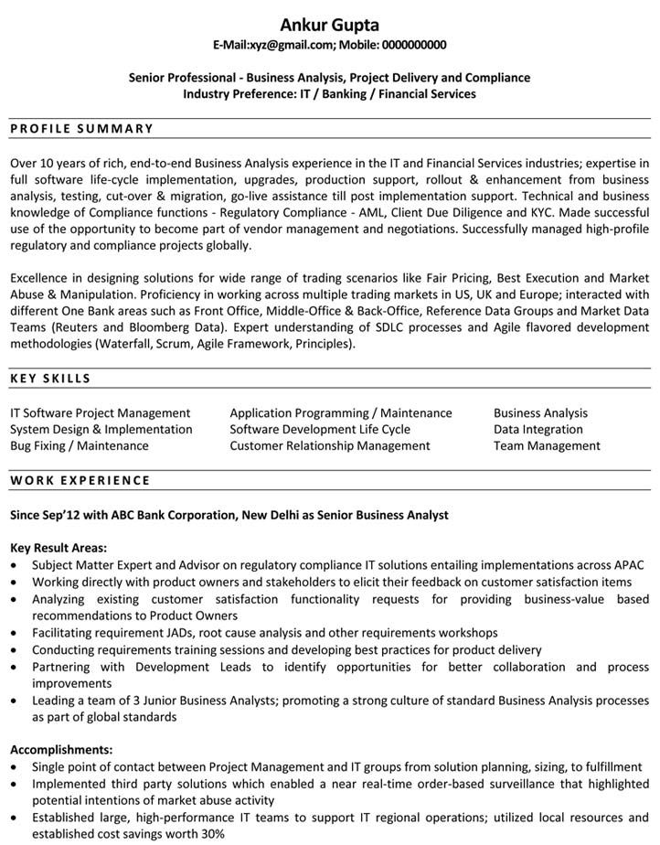 Resume Examples Business Analyst Business Resume Business