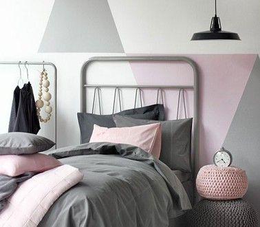 jeu de peinture pour chambre ado fille en rose et gris