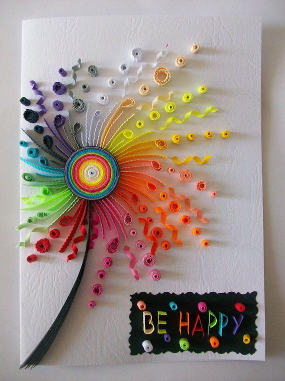 Tarjeta de cumpleaños Quilling Quilled tarjeta cumpleaños