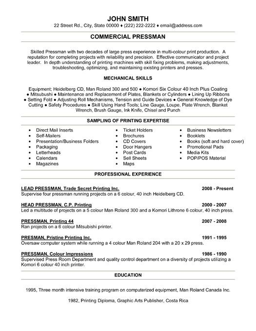 click here to download this commercial pressman resume template httpwww