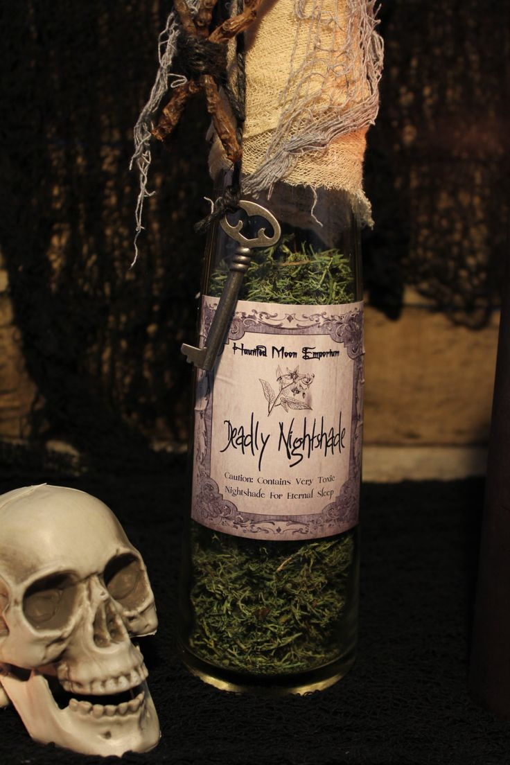 "Halloween Potion Bottle, ""Deadly Nightshade"", Large Potion Bottle, Halloween Decoration, Halloween Prop, Potion Bottle, Unique by HauntedMoonEmporium on Etsy"