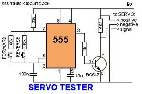 If you ever wanted to test a RC servo by hand this circuit could come in handy.