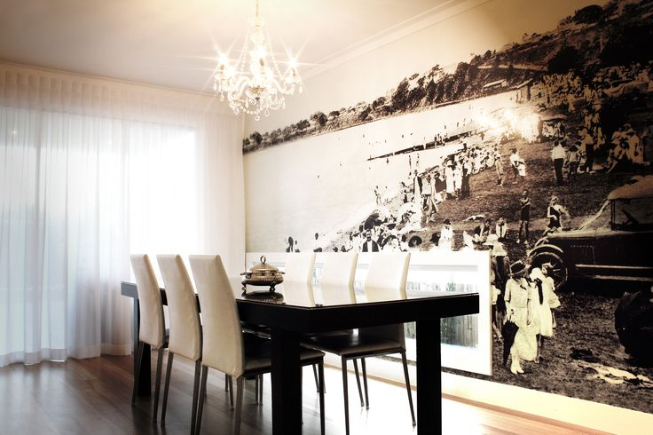 Interiors by Caroline Andrews (Milk & Honey Interiors).  A 4x6 historic photo of Sandgate made into a wall mural in my dinning rooms