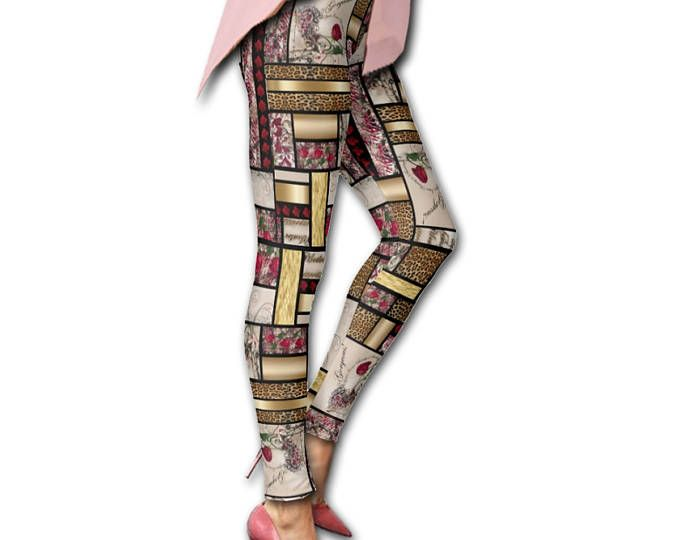 Designer Leggings, Capris, Workout Pants. Classic Animal Print Patchwork. High Performance Gym, Yoga, Casual Wear for Coaches, Trainers, Dancers, Athletes, Moms, Gals who want to look hot doing anything!