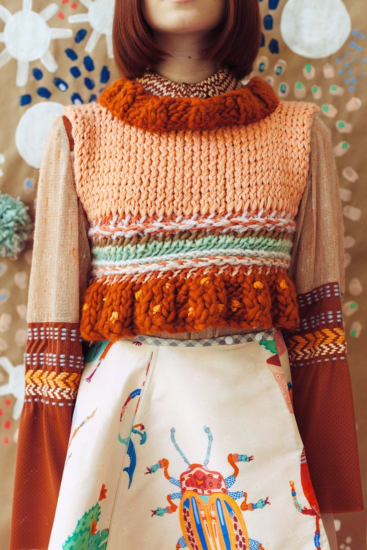 Funky crocheted top and buggy skirt by Caroline Kaufman--cool and quirky for #fall